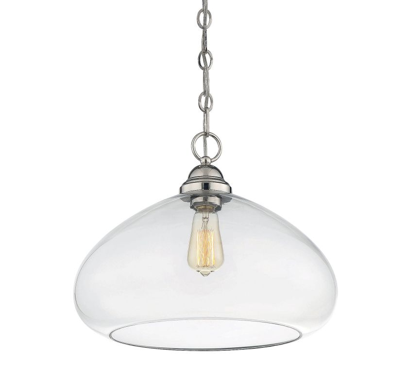 Savoy House 1-2070-1 Shane 1 Light Pendant Polished Nickel Indoor