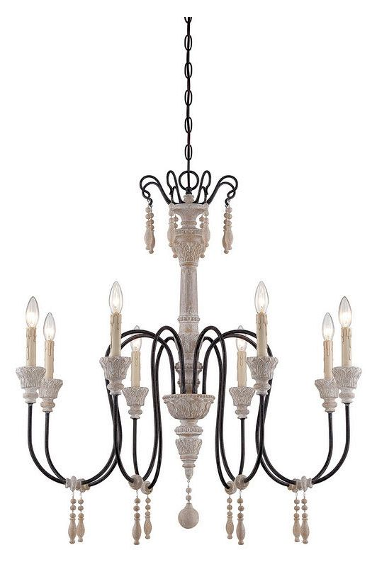 "Savoy House 1-291-8 Ashland 8 Light 33"" Wide 1 Tier Chandelier White"