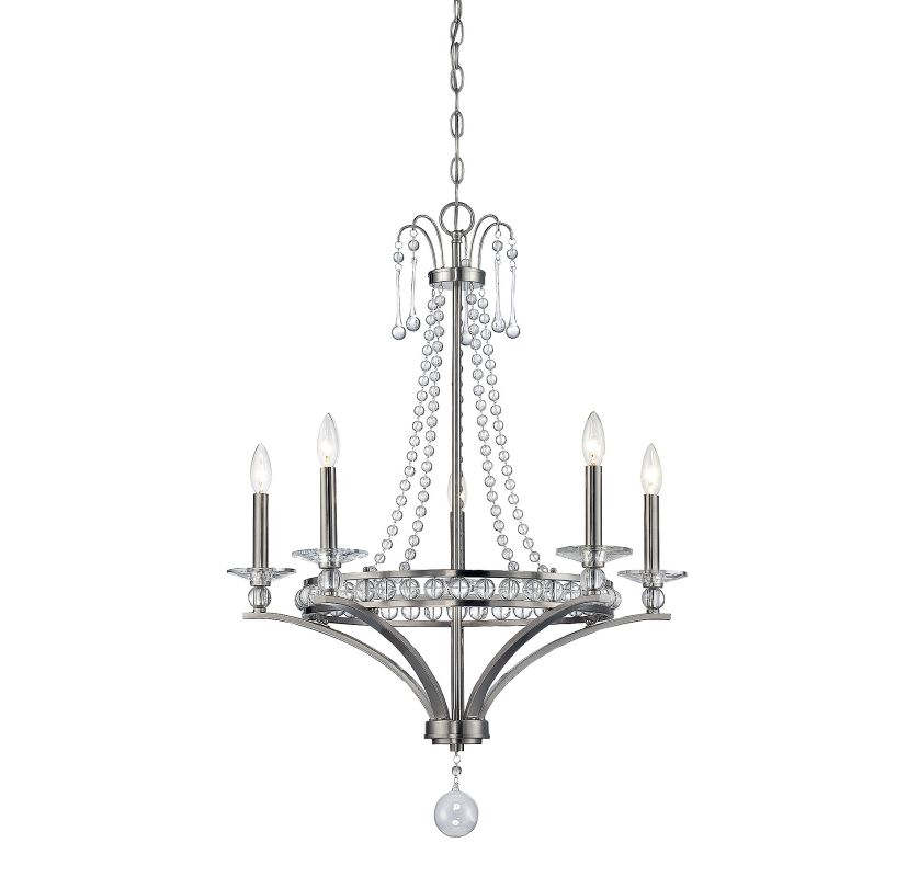 Savoy House 1-400-5 Alana 5 Light Chandelier Satin Nickel Indoor