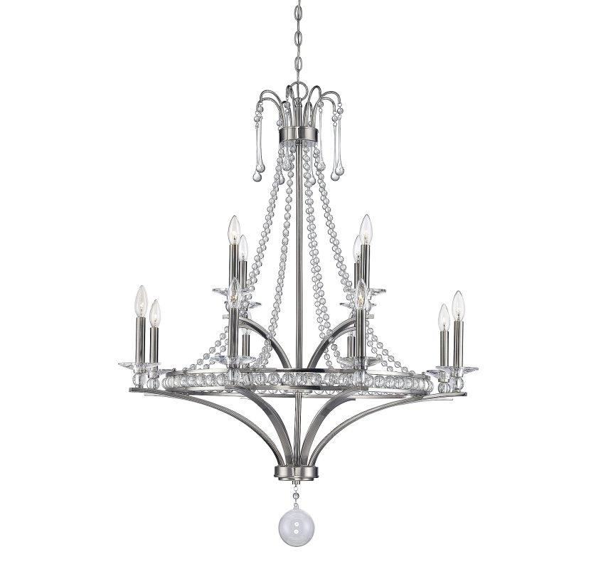 Savoy House 1-402-12 Alana 12 Light Chandelier Satin Nickel Indoor