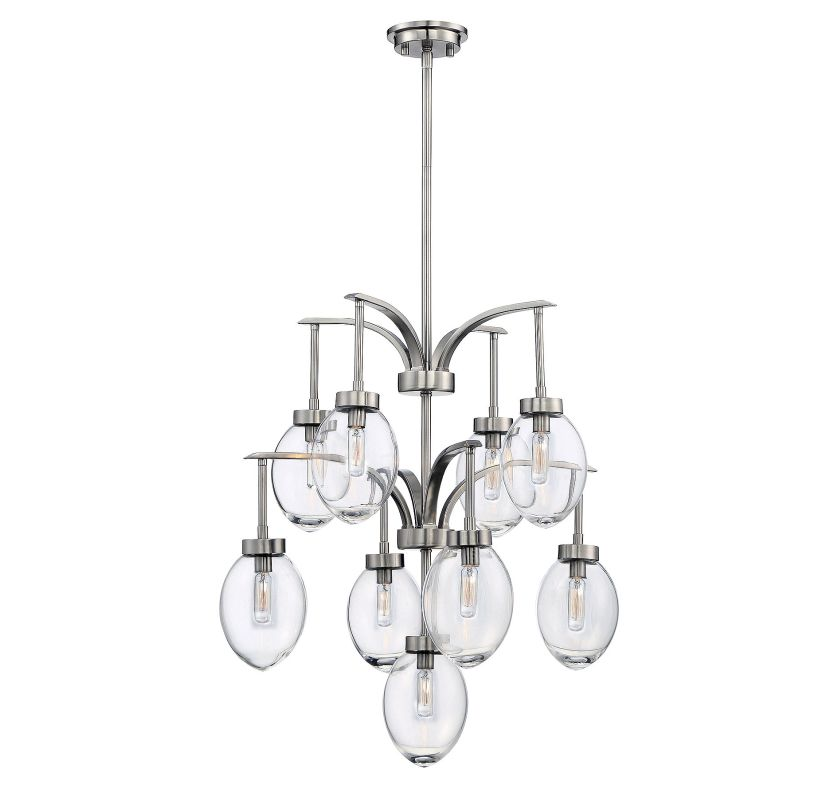 Savoy House 1-541-9 Ravenia 9 Light Chandelier Satin Nickel Indoor