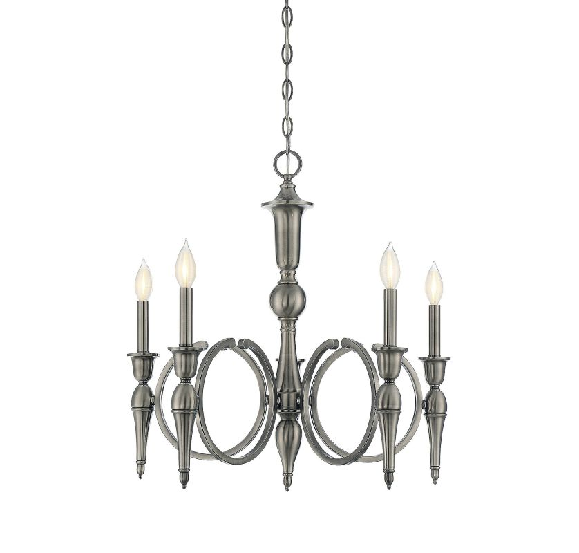Savoy House 1-862-5 Shannon 5 Light Chandelier Polished Pewter Indoor