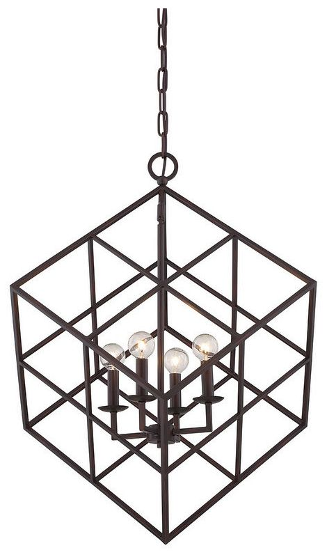 "Savoy House 3-313-4 Halston 4 Light 22"" Wide Pendant English Bronze"