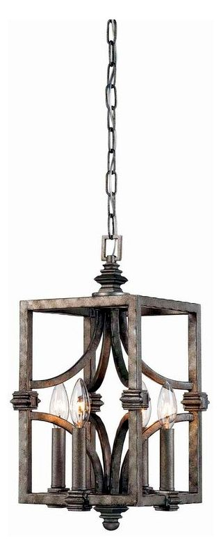 "Savoy House 3-4302-4 Structure 4 Light 9"" Wide Pendant Aged Steel"
