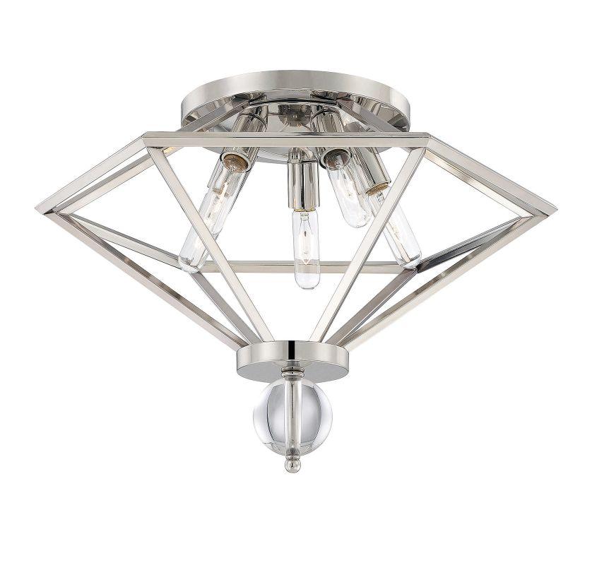 Savoy House 6-682-5 Tekoa 5 Light Flush Mount Ceiling Fixture Polished