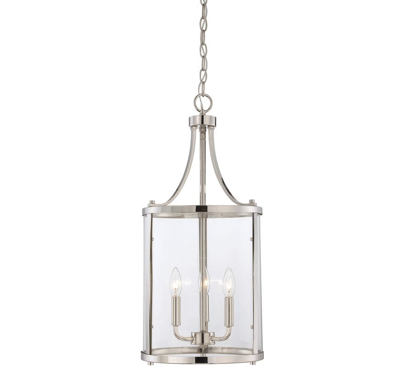 "Savoy House 7-1040-3 Penrose 3 Light 12"" Wide Pendant Polished Nickel"