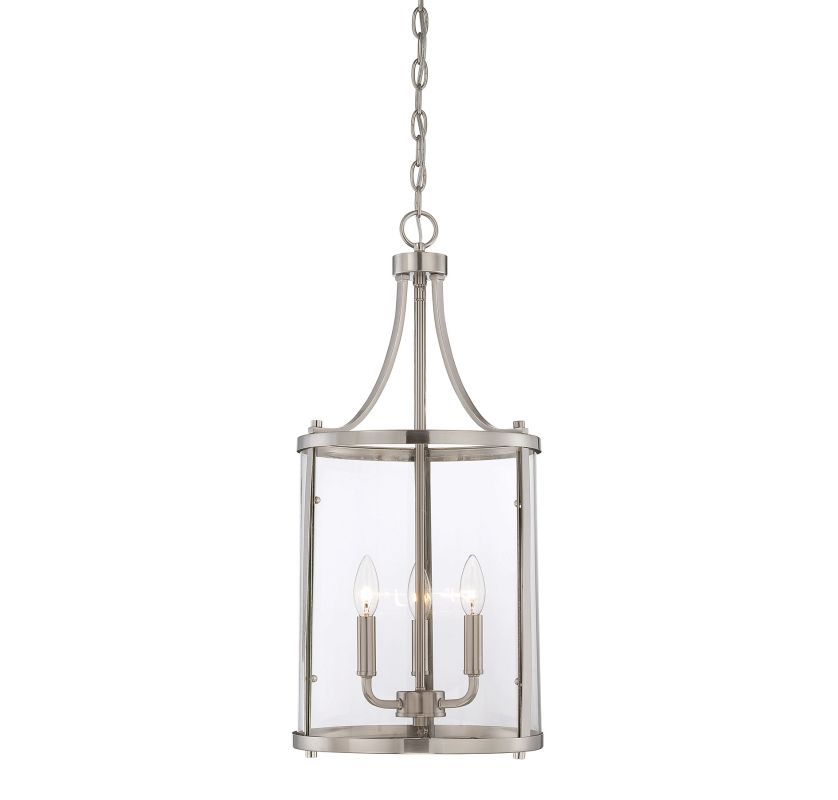 "Savoy House 7-1040-3 Penrose 3 Light 12"" Wide Pendant Satin Nickel"