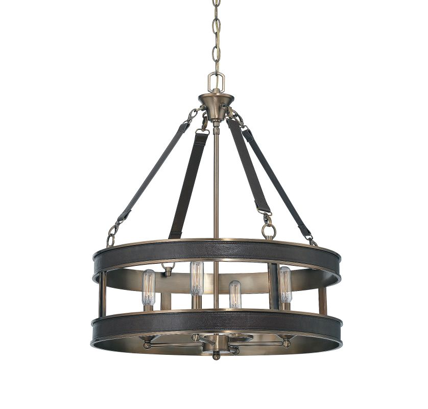 Savoy House 7-614-4 Harrington 4 Light Pendant Brown Leather Indoor Sale $618.00 ITEM#: 2843655 MODEL# :7-614-4-50 UPC#: 822920255076 :
