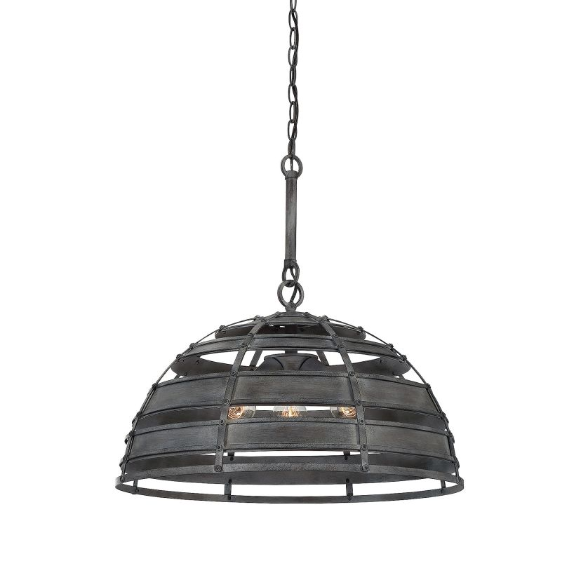 Savoy House 7-810-3 Malden 3 Light Pendant Raw Steel Indoor Lighting