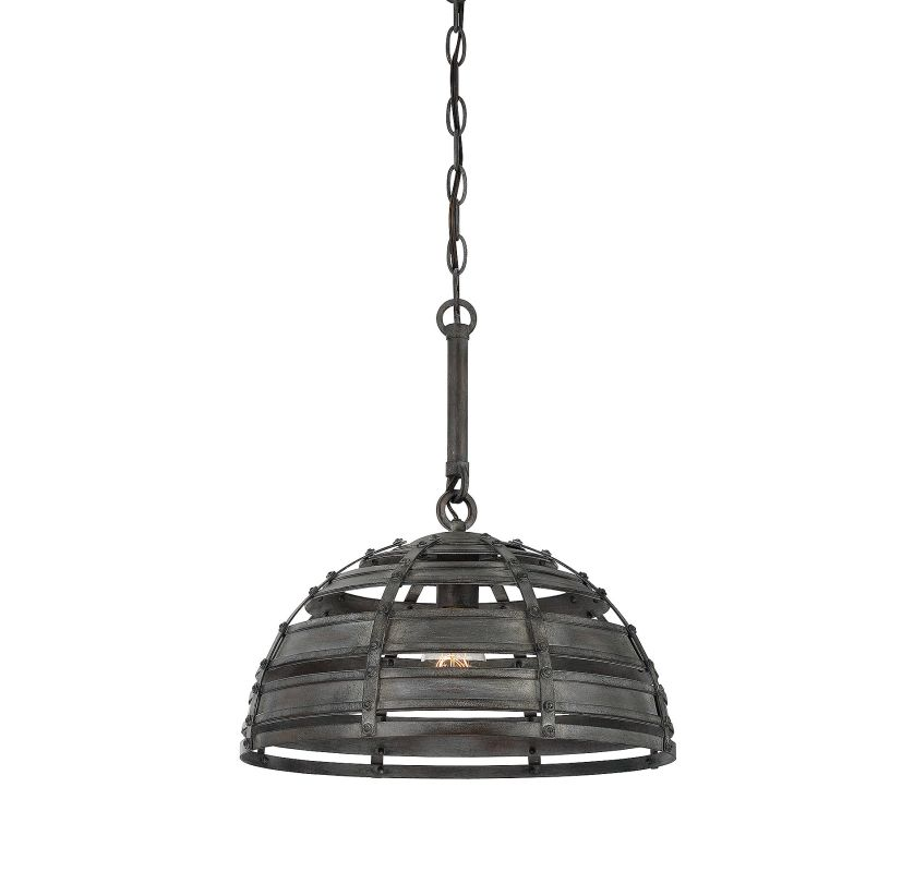 Savoy House 7-811-1 Malden 1 Light Pendant Raw Steel Indoor Lighting