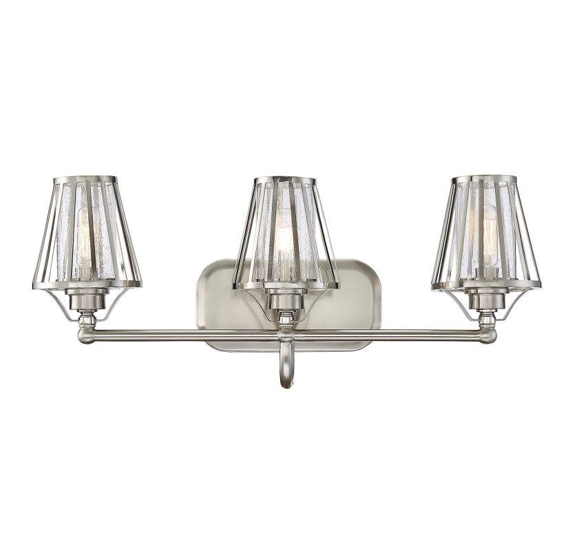 Savoy House 8-4078-3 Caroll 3 Light Bathroom Vanity Light Satin Nickel Sale $278.00 ITEM#: 2958008 MODEL# :8-4078-3-SN UPC#: 822920259852 :