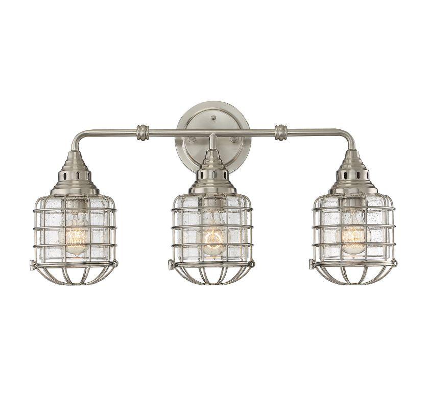 Savoy House 8-575-3 Connell 3 Light Cage Bathroom Vanity Light Satin Sale $278.00 ITEM#: 2954598 MODEL# :8-575-3-SN UPC#: 822920261183 :
