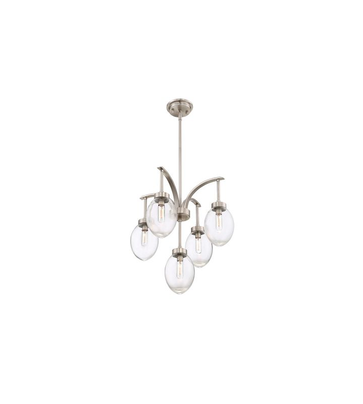 Savoy House 1-540-5 Ravenia 5 Light Chandelier Satin Nickel Indoor