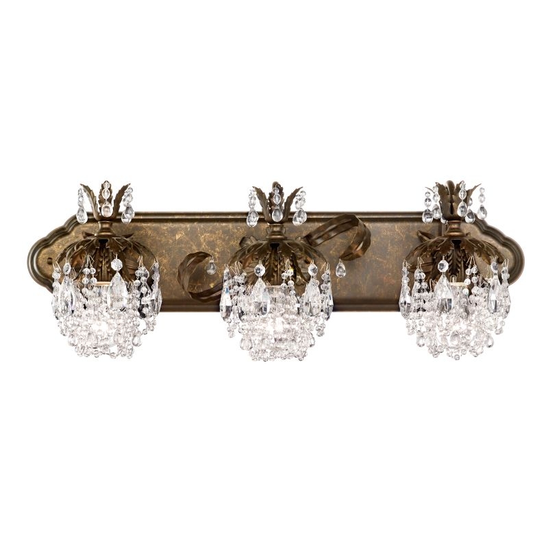 "Schonbek 1256 27"" Wide 3 Light Bathroom Vanity Light With Crystal"