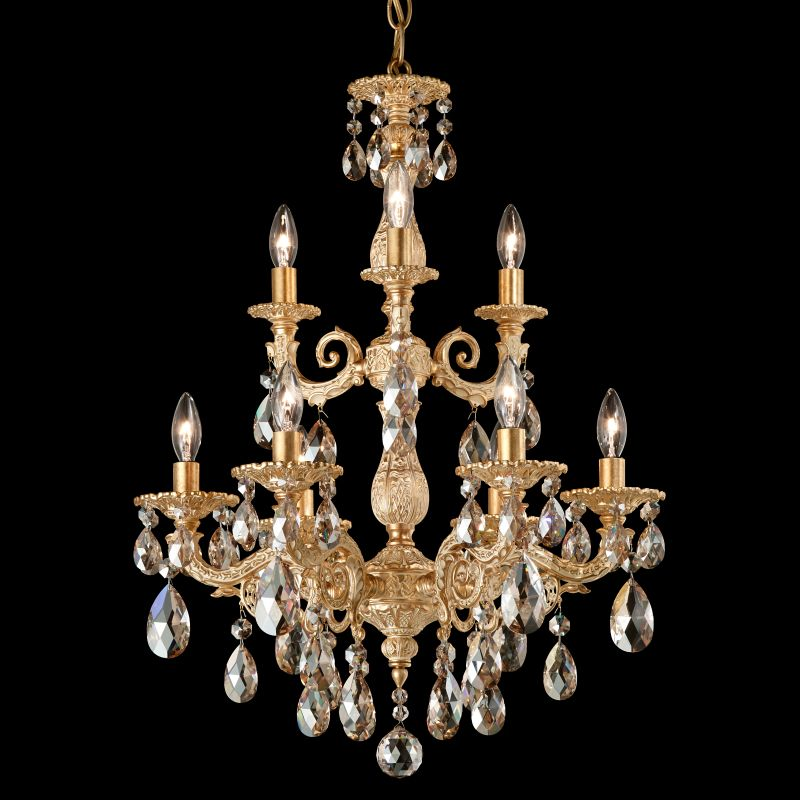 """Schonbek 5672 18"""" Wide 9 Light Candle Style Chandelier from the Milano Sale $2470.00 ITEM#: 2799741 MODEL# :5672-27 :"""