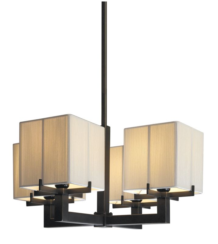 Sonneman 3356 Boxus 4 Light Chandelier with Square Off-White Silk