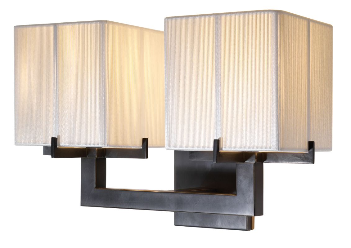 Sonneman 3358 Boxus 2 Light Double Wall Sconce with Silk String Fabric