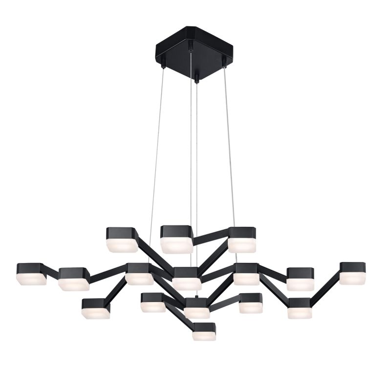 Sonneman 2328 Lattice 16 Light LED Chandelier Satin Black with White