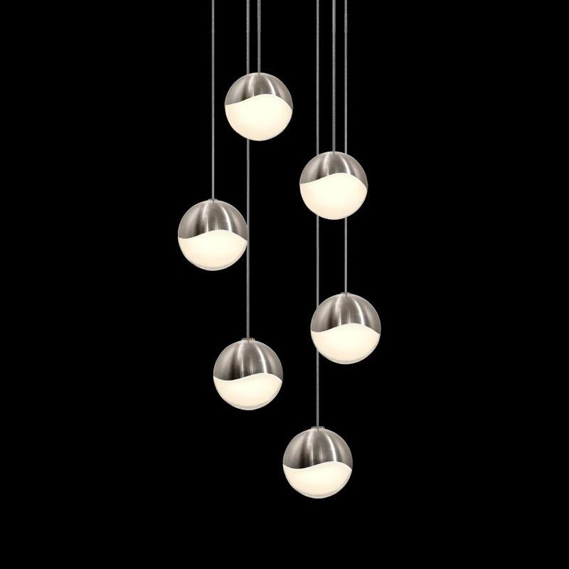 Sonneman 2915-LRG Grapes 6 Light LED Pendant Satin Nickel Indoor Sale $1590.00 ITEM#: 2655400 MODEL# :2915.13-LRG UPC#: 872681062987 :