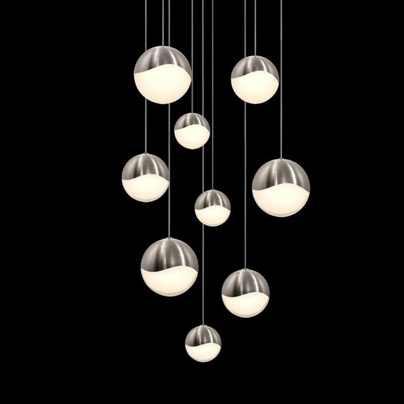 Sonneman 2916-AST Grapes 9 Light LED Pendant Satin Nickel Indoor Sale $2200.00 ITEM#: 2655407 MODEL# :2916.13-AST UPC#: 872681063069 :