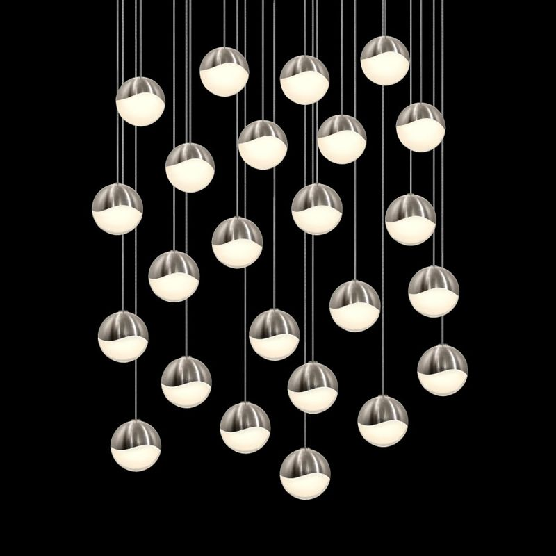 Sonneman 2918-LRG Grapes 24 Light LED Pendant Satin Nickel Indoor Sale $7000.00 ITEM#: 2655424 MODEL# :2918.13-LRG UPC#: 872681063236 :