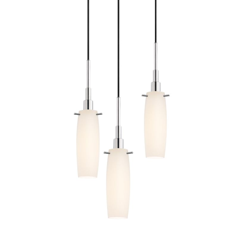 Sonneman 3552-3 Candela 3 Light Pendant with White Shade Polished