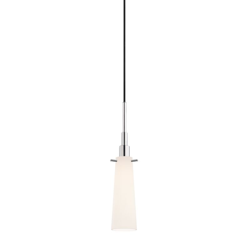 Sonneman 3553 Candela 1 Light Pendant with White Shade Polished Chrome