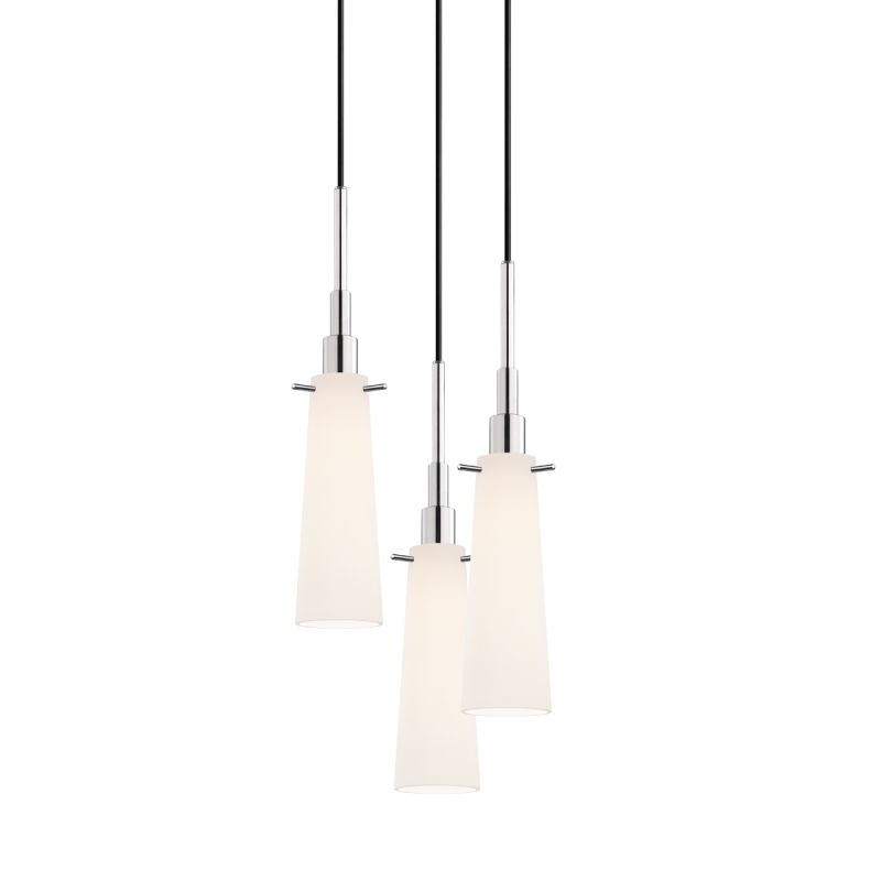 Sonneman 3553-3 Candela 3 Light Pendant with White Shade Polished