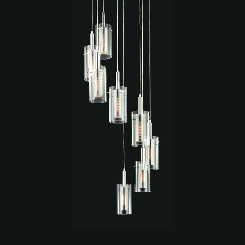 Sonneman 4399 Zylinder 8 Light Pendant with Clear Shade Satin Black /