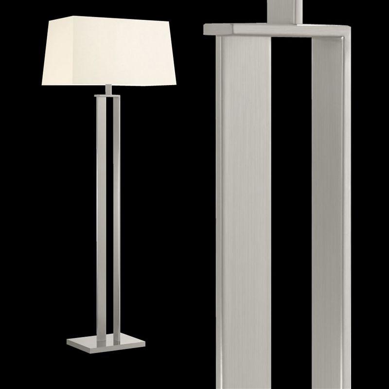 Sonneman 4692 D-Lamp 2 Light Floor Lamp with Linen Shade Satin Nickel