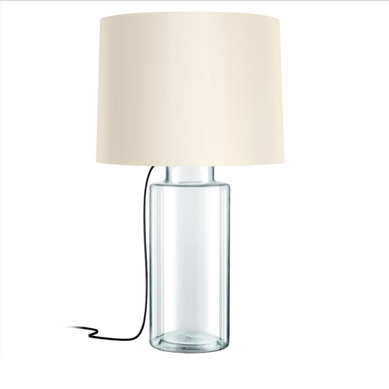 "Sonneman 4775 Vaso 1 Light Table Lamp with Linen Shade Clear Glass Sale $490.00 ITEM#: 2655521 MODEL# :4775.87K UPC#: 872681063663 Features: Cream fabric drum shade Designed to cast light both upwards and downwards UL Listed for Dry Location Requires (1) 150 watt Medium (E26) base bulb (Not Included) Lamping Technology: Bulb Base - Medium (E26): The E26 (Edison 26mm), Medium Edison Screw, is the standard bulb used in 120-Volt applications in North America. E26 is the most common bulb type and is generally interchangeable with E27 bulbs. Compatible Bulb Types: Nearly all bulb types can be found for the E26 Medium Base, options include Incandescent, Fluorescent, LED, Halogen, and Xenon / Krypton. Dimensions: Height: 32"" (measured from ceiling to bottom most point of fixture) Width: 18"" (measured from furthest point left to furthest point right on fixture) Shade Diameter: 18"" Electrical Specifications: Bulb Base: Medium (E26) Bulb Included: No Bulb Type: Compact Fluorescent, Incandescent Number of Bulbs: 1 Watts Per Bulb: 150 Wattage: 150 Voltage: 120v Compliance: UL Listed - Indicates whether a product meets standards and compliance guidelines set by Underwriters Laboratories. This listing determines what types of rooms or environments a product can be used in safely. :"