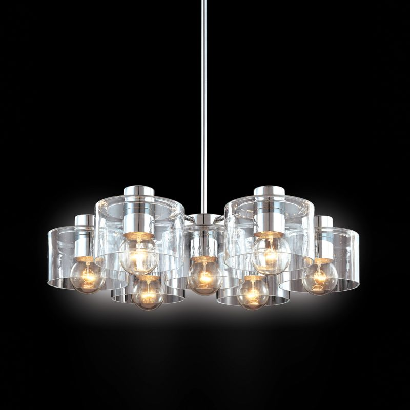 Sonneman 4807 Transparence 7 Light Chandelier with Clear Glass Shades