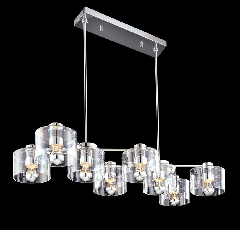 Sonneman 4808 Transparence 8 Light Chandelier with Clear Glass Shades