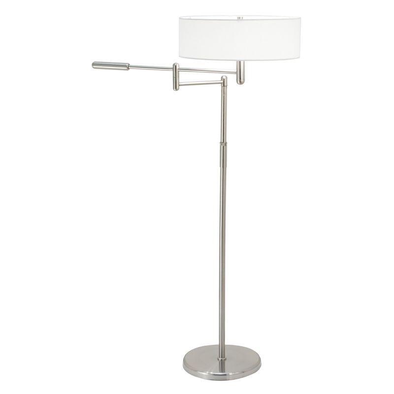Sonneman 7001 Perno 2 Light Floor Lamp with Cream Shade Satin Nickel