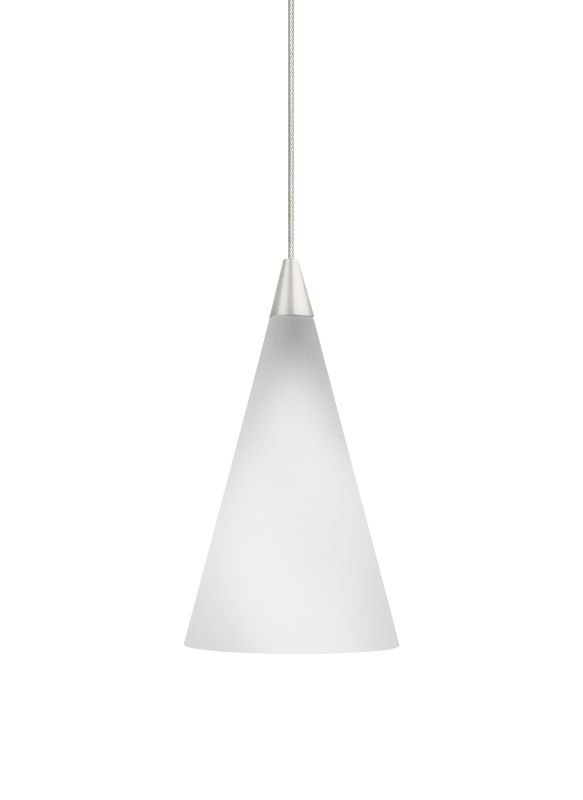 """Tech Lighting 700KCONW Kable Lite White Glass Cone Pendant - 12v Sale $223.20 ITEM#: 827866 MODEL# :700KCONWS UPC#: 756460579036 Features: Case glass cone with reflective white interior or transparent glass cone Case glass Includes low-voltage, 50 watt halogen bi-pin lamp or 6 watt replaceable LED module Transparent glass includes low-voltage, 50 watt MR16 flood lamp Each include six feet of field-cuttable suspension cable Shown in Satin Nickel finishLamping Technologies: Bulb Base - GY6.35 - A bi pin or ' bipin socket', the GY6.35 has a pin spread of 6.35 mm and is used mostly with halogen bulbs common for task lighting and landscape lighting. Compatible Bulb Types: GY6.35 Bulb Base uses primarily a Halogen but is also compatible as LED and Xenon / Krypton.Specifications: Number of Bulbs: 1 Bulb Base: GY6.35 Bulb Type: Halogen Bulb Included: Yes Watts Per Bulb: 50 Wattage: 50 Height: 6.5"""" Width: 3.9"""" Energy Star: No :"""