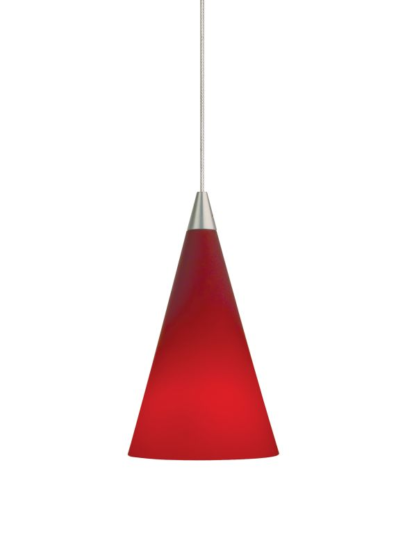 Tech Lighting 700MOCONR MonoRail Red Glass Cone Pendant - 12v Halogen
