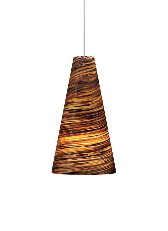Tech Lighting 700TDTAZPN Taza Blown Glass with Brown Color Twists Line