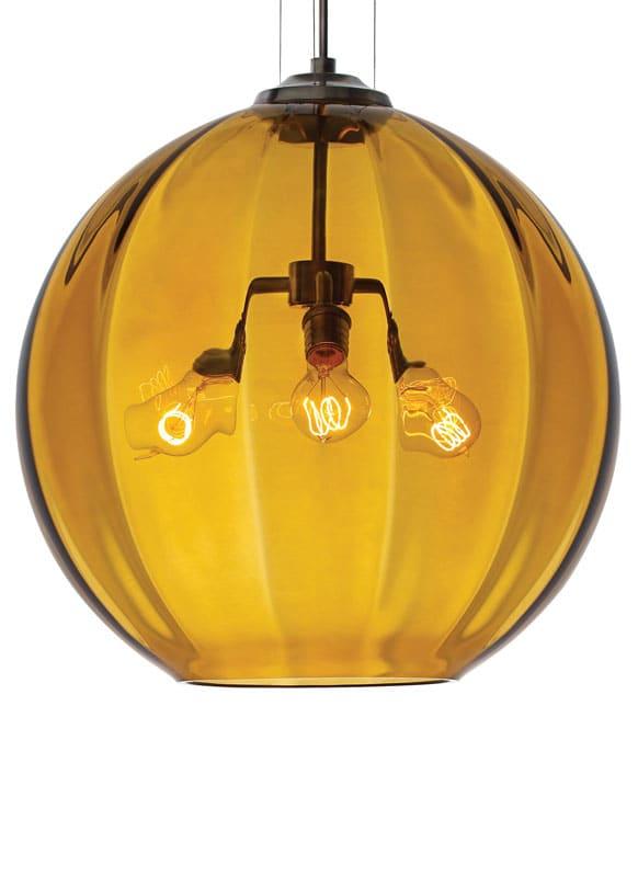 "Tech Lighting 700TDWORP-LED823 World 21"" Wide 3 LED Pendant Amber"