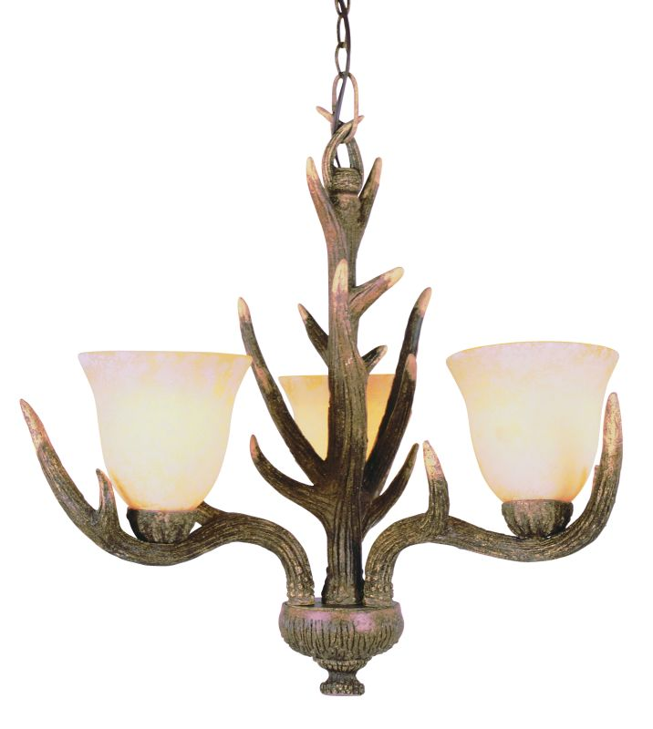 Trans Globe Lighting 7080 RDA Replica Deer Antler Country Style and Antlers Rustic / Country Three Light Up Lighting Chandelier from the Country Style and Antle