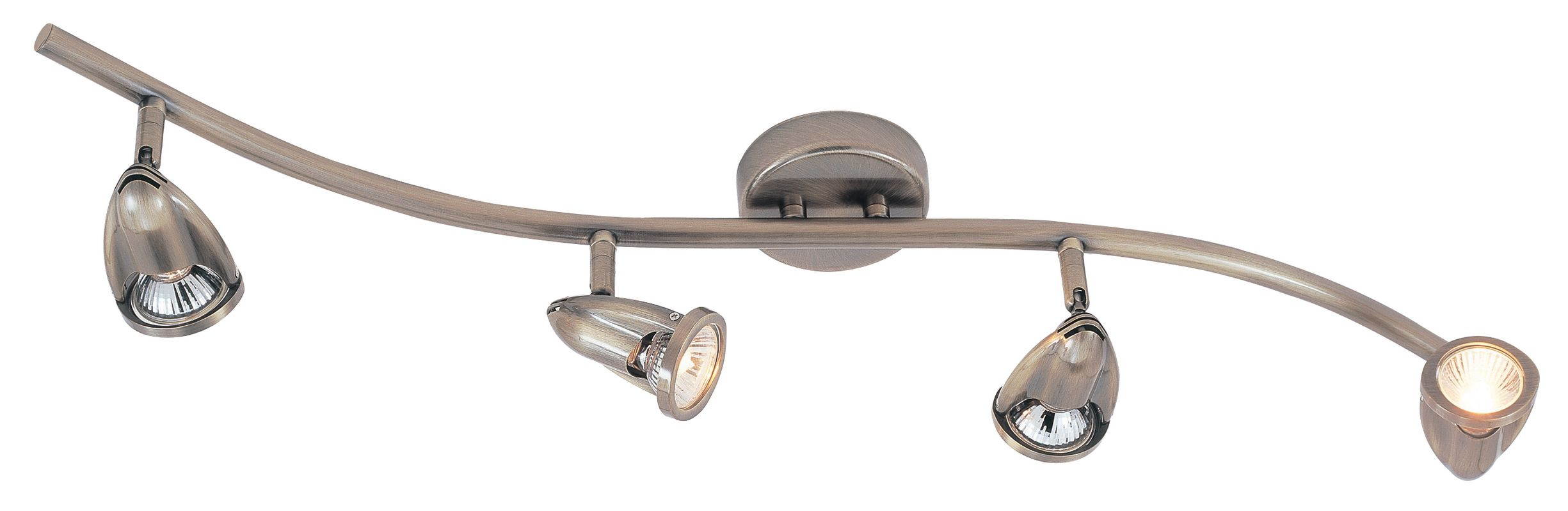 Trans Globe Lighting W-466 BN Brushed Nickel Modern Track Four Light Wave Track Light from the Modern Track Collection