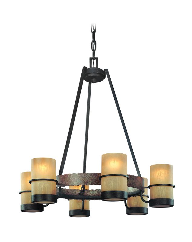 Troy Lighting F1846 Bamboo 6 Light Chandelier with Slate Ring Accent