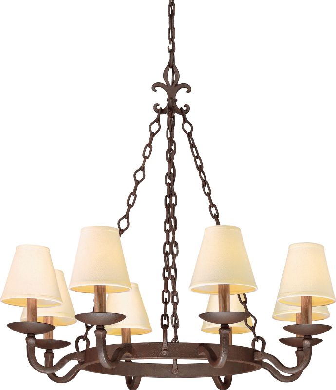Troy Lighting F2715 Lyon 8 Light Chandelier with Fabric Shades Burnt