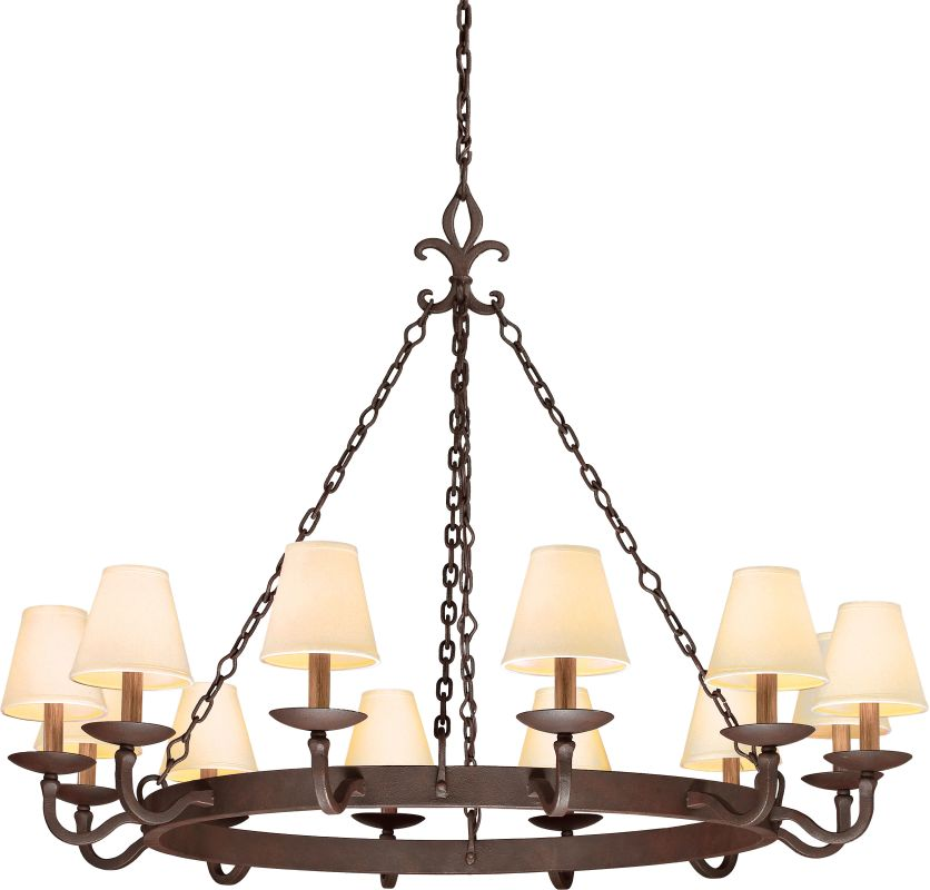 Troy Lighting F2716 Lyon 12 Light Chandelier with Fabric Shades Burnt