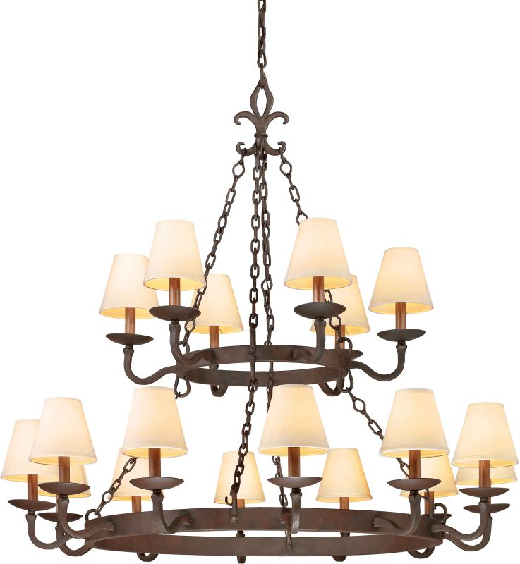 Troy Lighting F2717 Lyon 18 Light 2 Tier Chandelier with Fabric Shades