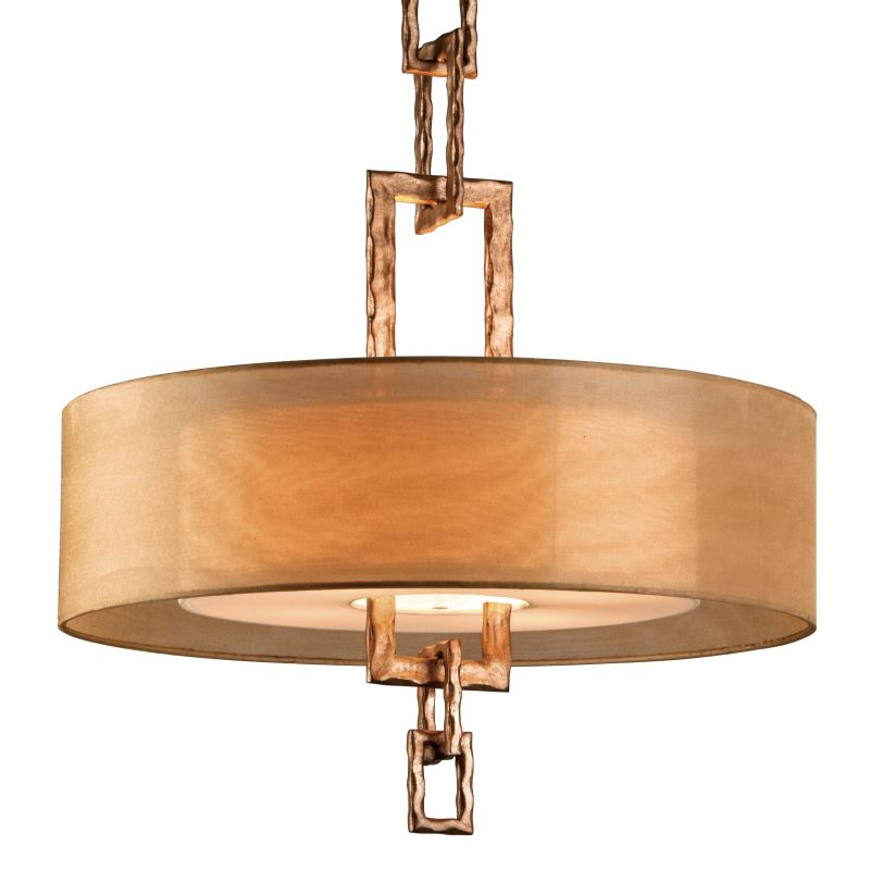 """Troy Lighting F2875 Link 4 Light 26"""" Drum Chandelier with Organza"""