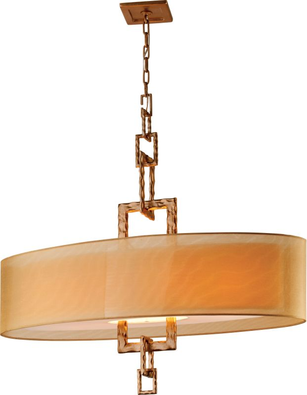 Troy Lighting F2878 Link 4 Light Linear Chandelier with Organza Shade