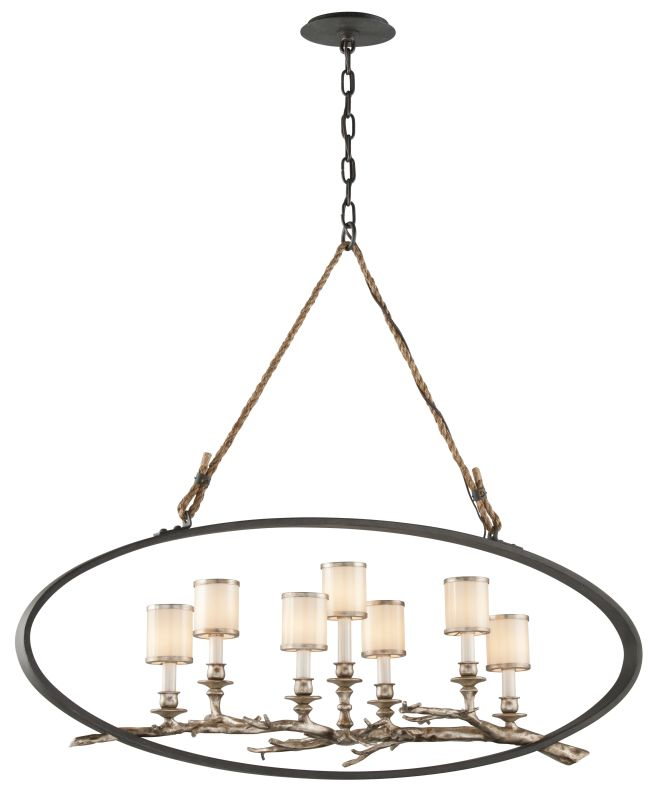 Troy Lighting F3447 Drift 7 Light Linear Chandelier with White Pearl