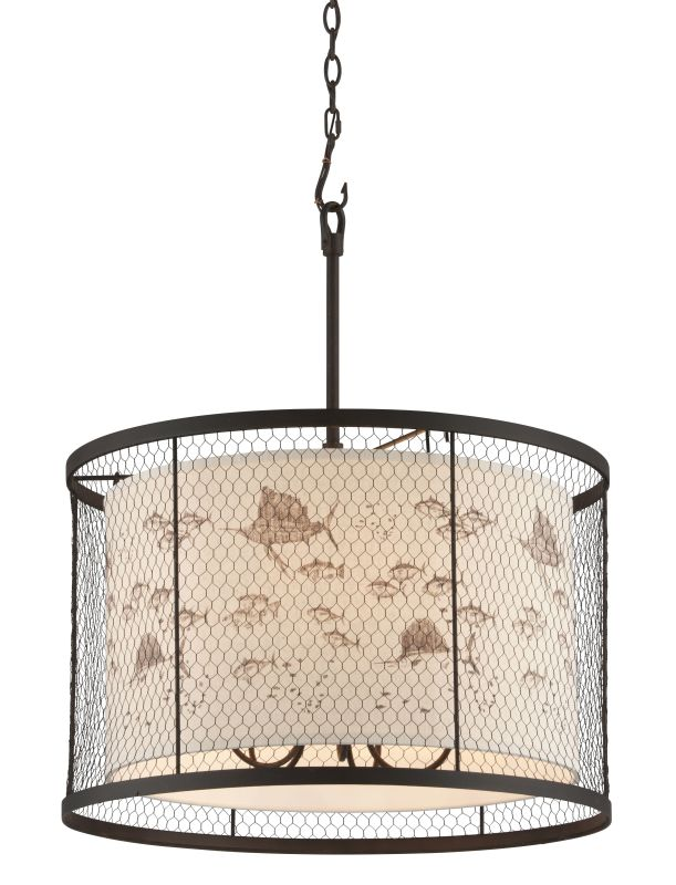 Troy Lighting F4026 Catch N Release 5 Light Pendant with Fabric Shade