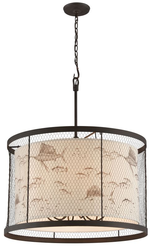 Troy Lighting F4027 Catch N Release 6 Light Pendant with Fabric Shade