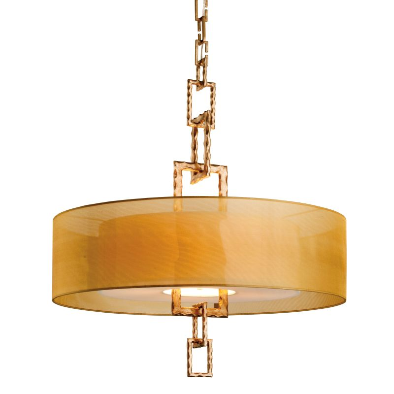 """Troy Lighting FF2876 Link 4 Light 32"""" CFL Drum Chandelier with Organza"""